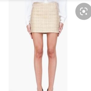 Alice and olivia gold leslie tweed mini skirt